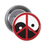 Yin-Yang with Peace sign - red Buttons