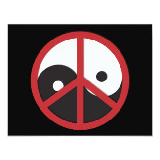 Yin-Yang with Peace sign - red Card