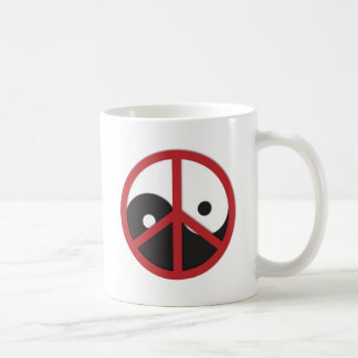 Yin-Yang with Peace sign - red Mugs
