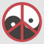 Yin-Yang with Peace sign - red Classic Round Sticker