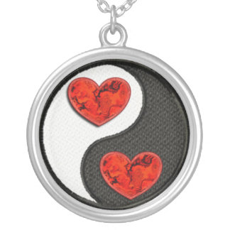Yin Yang with red burning hearts Silver Plated Necklace