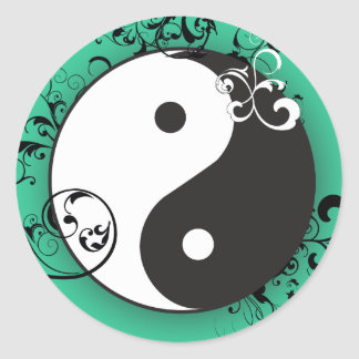 Yin-Yang with scrolling Classic Round Sticker