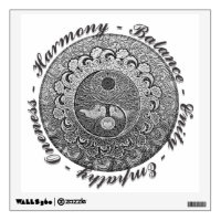 Yin Yang with Tree of Life and Positive Words Wall Sticker