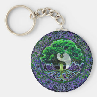 Yin Yang with Tree of Life Basic Round Button Keychain