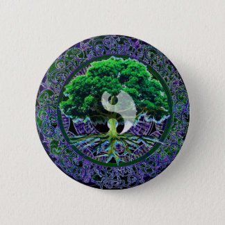 Yin Yang with Tree of Life Pinback Button