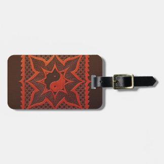 Yin Yang Woodcut Mandala Travel Bag Tags