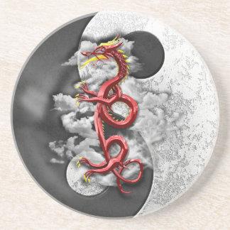 Yin Yang y dragón Posavasos Cerveza