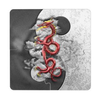 Yin Yang y dragón Posavasos De Puzzle