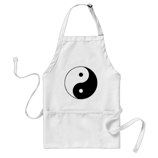 Yin Yang Ying Taoism Sign Chinese Taijitu Black Adult Apron