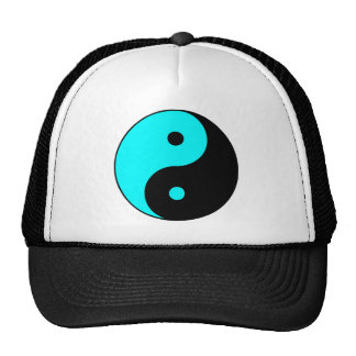 Yin Yang Ying Taoism Sign Chinese Taijitu Blue Mesh Hat