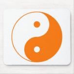 Yin Yang Ying Taoism Sign Chinese Taijitu Orange Mouse Pad
