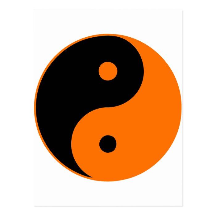 Yin Yang Ying Taoism Sign Chinese Taijitu Orange Postcard