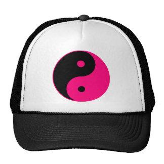 Yin Yang Ying Taoism Sign Chinese Taijitu Pink Mesh Hat