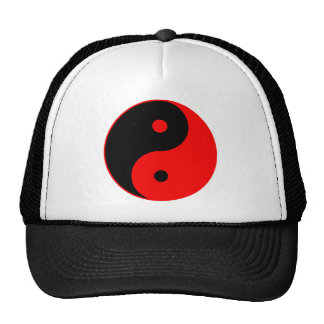Yin Yang Ying Taoism Sign Chinese Taijitu Red Mesh Hat