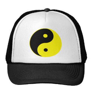 Yin Yang Ying Taoism Sign Chinese Taijitu Yellow Mesh Hat