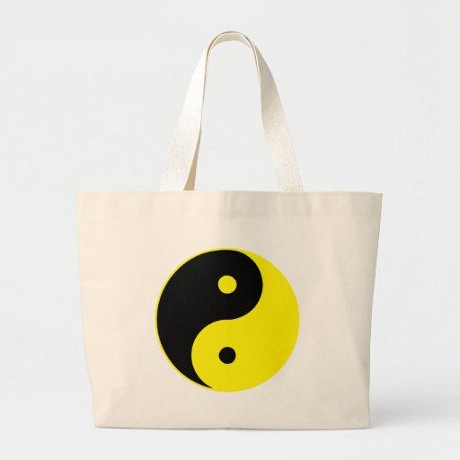 Yin Yang Ying Taoism Sign Chinese Taijitu Yellow Jumbo Tote Bag