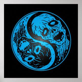 Yin Yang Zombies Blue and Black Print