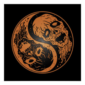 Yin Yang Zombies Brown and Black Posters