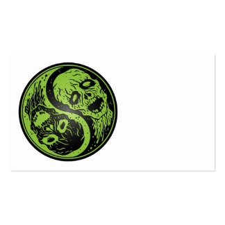 Yin Yang Zombies Green and Black Business Card Templates