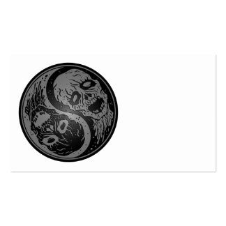Yin Yang Zombies Grey and Black Business Card Template