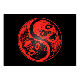 Yin Yang Zombies Red and Black Business Cards