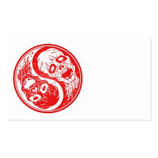 Yin Yang Zombies Red and White Business Card Template