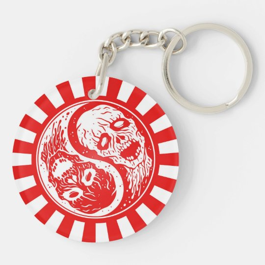 Yin Yang Zombies Red and White Rays Keychain