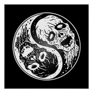Yin Yang Zombies White and Black Poster