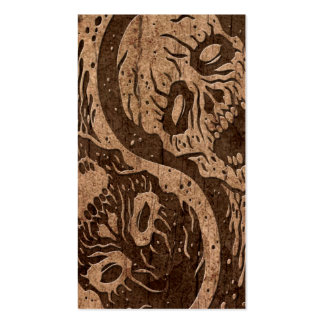Yin Yang Zombies with Wood Grain Effect Business Card
