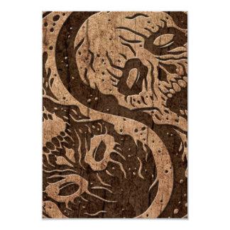 Yin Yang Zombies with Wood Grain Effect Card