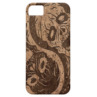 Yin Yang Zombies with Wood Grain Effect iPhone SE/5/5s Case