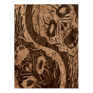 Yin Yang Zombies with Wood Grain Effect Postcard