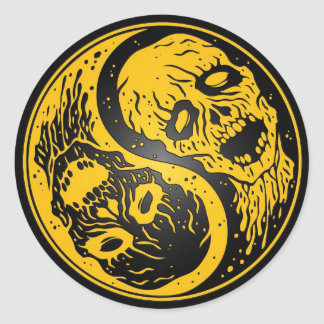 Yin Yang Zombies Yellow and Black Classic Round Sticker