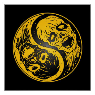 Yin Yang Zombies Yellow and Black Poster