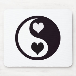 Ying and Yang Black and White Hearts Mouse Pad