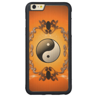 Ying and yang carved maple iPhone 6 plus bumper case