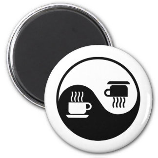 Ying and Yang of Coffee 2 Inch Round Magnet