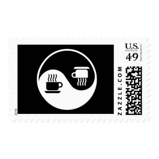 Ying and Yang of Coffee Postage Stamp