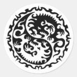Ying y Yang Etiquetas Redondas