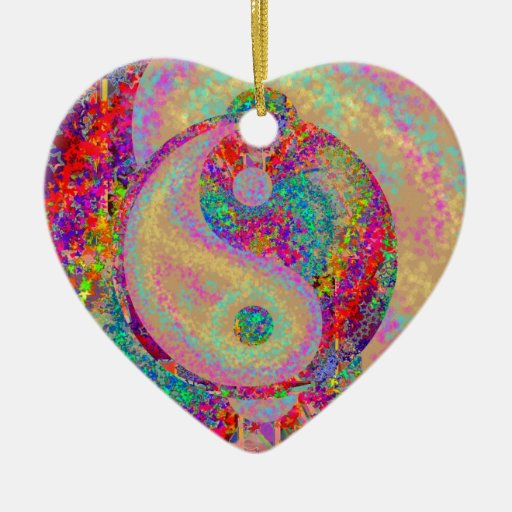 Ying Yang 2 Double-Sided Heart Ceramic Christmas Ornament