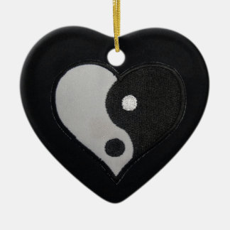 Ying Yang (B&W) Heart Products Ceramic Ornament