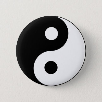 Ying Yang Black and White Symbol Button