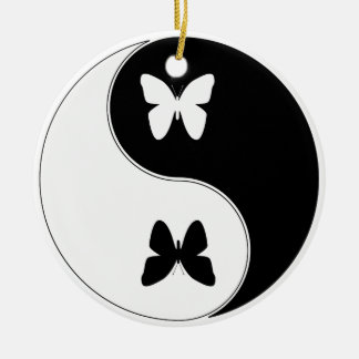Ying Yang Butterfly Double-Sided Ceramic Round Christmas Ornament