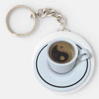 Ying Yang coffee Basic Round Button Keychain
