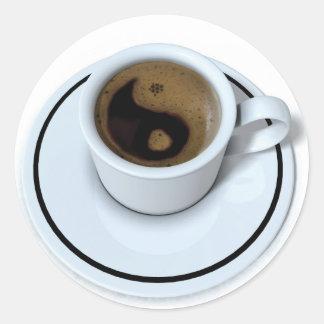 Ying Yang coffee Classic Round Sticker