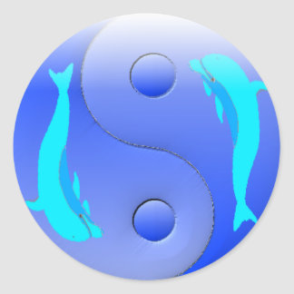 Ying-Yang Dolphin Classic Round Sticker