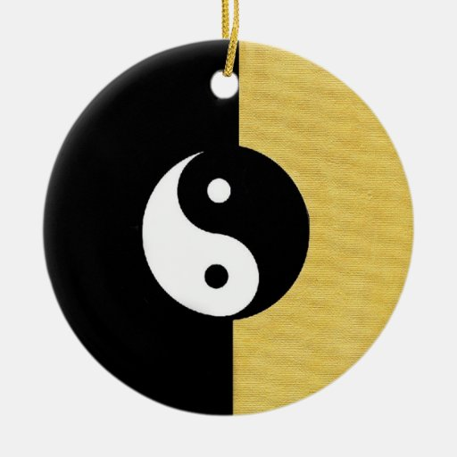 Ying Yang Double-Sided Ceramic Round Christmas Ornament