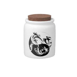 Ying Yang dragon Candy Jars