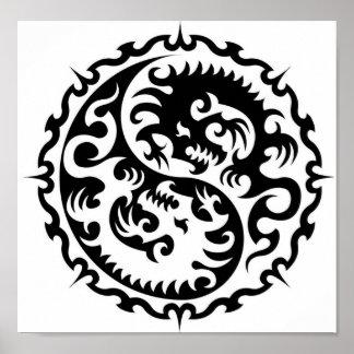Ying-Yang Dragon Mouse pad Poster