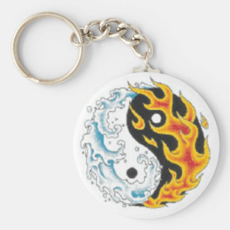 ying yang flame water keychain